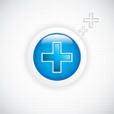 healt: Blue diagnostics button Medical cross vector