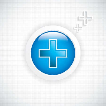 cardiogram: Blue diagnostics button Medical cross vector