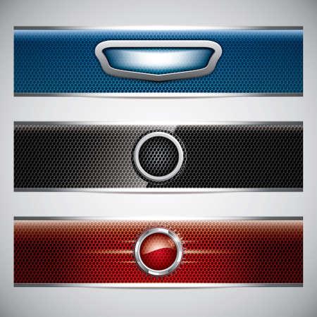 discount banner: Banners, metallic set, modern backgrounds design, vector