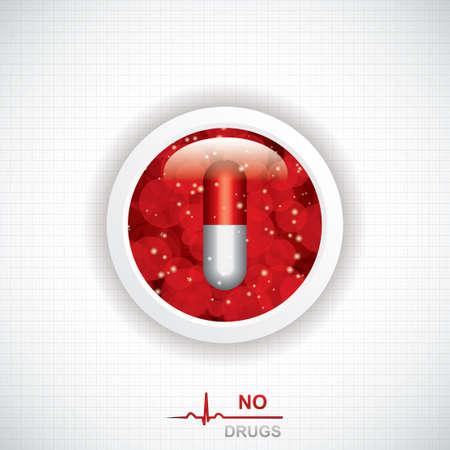 anti: Anti drug medical background Vector Illustration