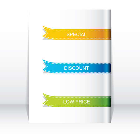 title page: Colorful ribbon promotional products design, vector illustration