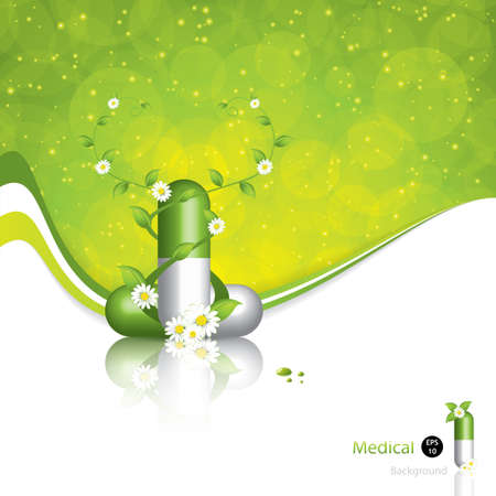 Green alternative medication concept - Herbal pill vector Vector