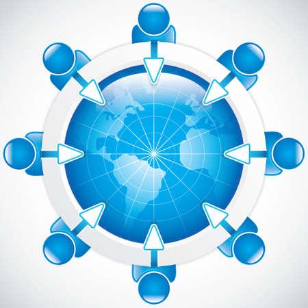 Teamwork rund um den Tisch Business vector Illustration