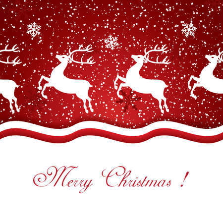 running reindeer: Beautiful red Christmas background with reindeer Illustration