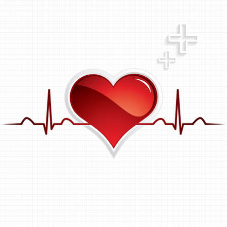 heartbeat: Heart and heartbeat symbol Medical