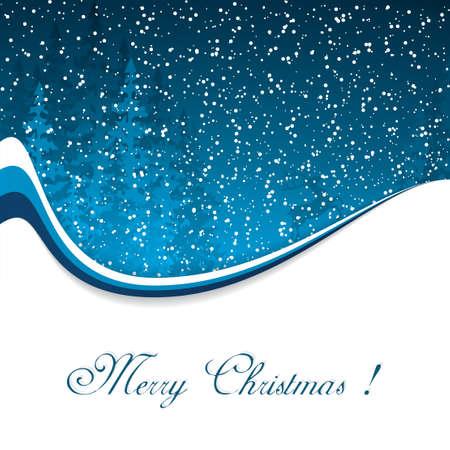 Carte de Noël avec soir d'hiver dans les tons bleus