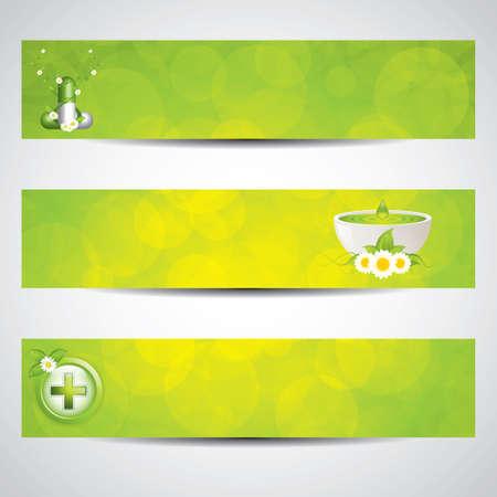 Herbal Pille und alternative Medizin Banner Medical Illustration