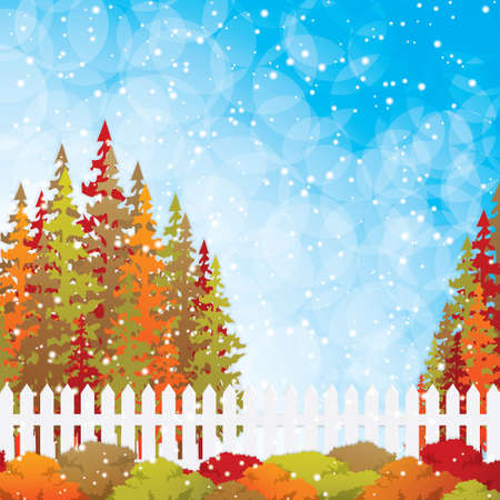 Autumn garden with bushes and fence Vector Stock Vector - 15450957
