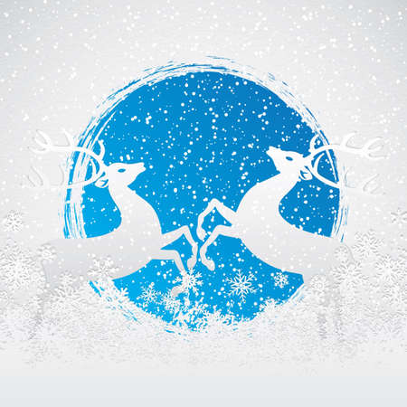 Christmas card with winter evening in blue tone Vector