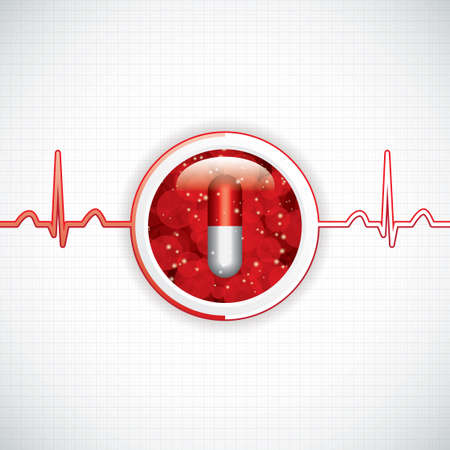 electrocardiograma: Lucha contra las drogas fondo médico Vectores