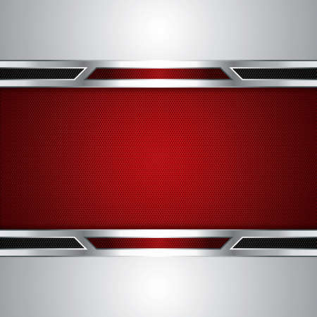 solid silver: Abstract background, metallic red brochure Illustration