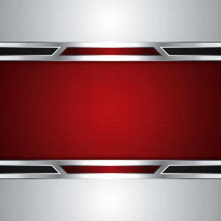 Fondo abstracto, rojo metálico folleto