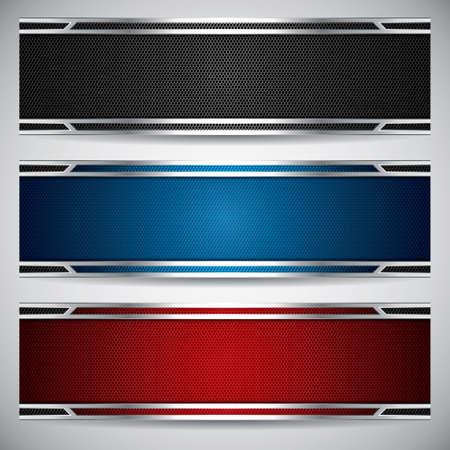 Banners, metalen set, modern achtergronden ontwerp