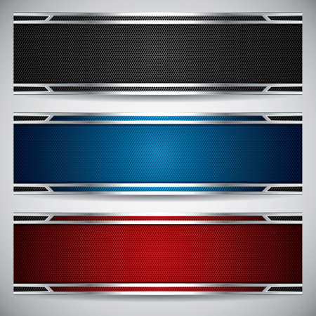 Banners, metallic set, modern backgrounds design