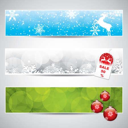 boldog karácsonyt: Állítsa be a vízszintes karácsonyi bannerek