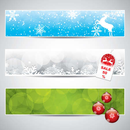 december holiday: Set of horizontal Christmas banners