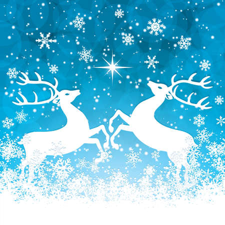 running reindeer: Beautiful blue winter background with reindeers