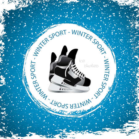 ice surface: Winter sport background Ice skates  Illustration