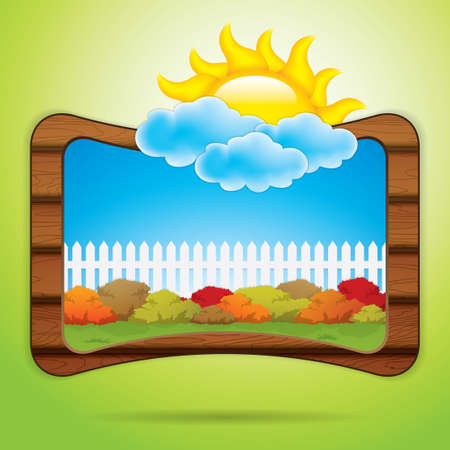 Kid scrapbook with sun and clouds Vector