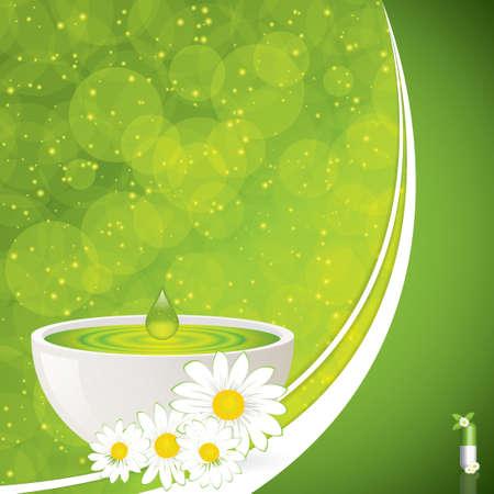 homeopatia: Concepto verde medicación alternativa - vector píldora a base de plantas Vectores