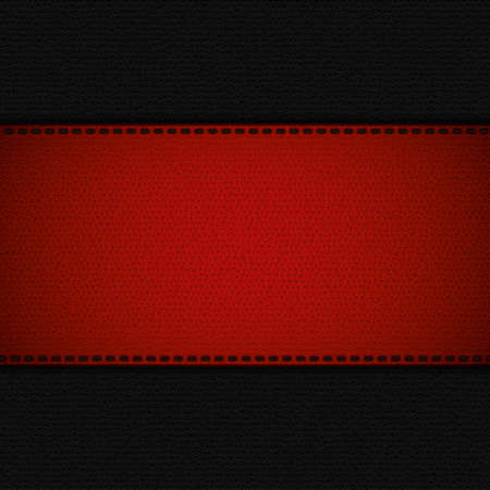 leather stitch: Red leather stripe on black leather background Vector Illustration