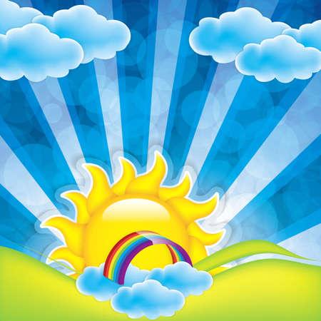 daybreak: Primavera marco con sol y nubes Vectores