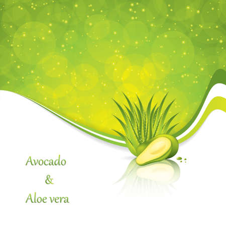 Avocado and Aloe Vera concept design vector
