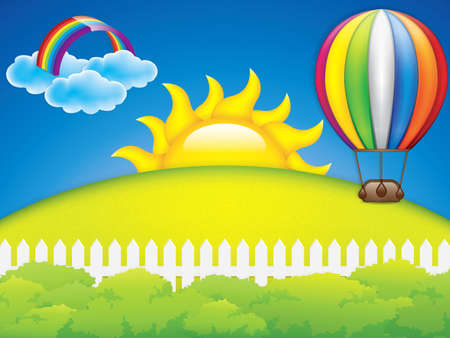 rises: Vector illustration of hot air balloon and green grass meadow Illustration