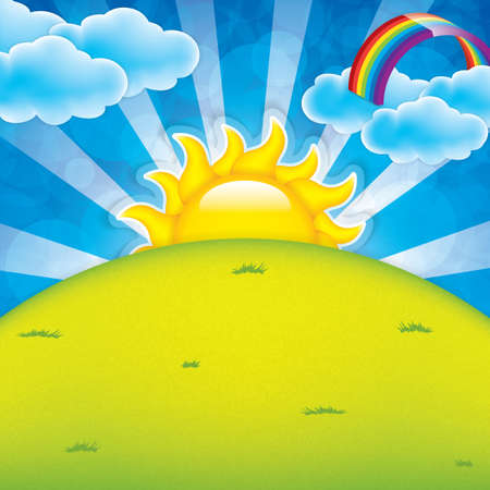 Spring frame with sun and clouds Vector