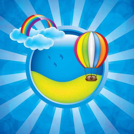 hot announcement: Primavera marco con globo de aire caliente y el arco iris