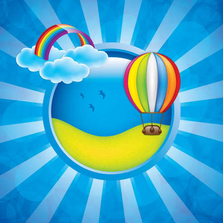 cute cartoon kids frame: Spring frame with hot air balloon and rainbow