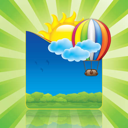 Spring frame with hot air balloon and sun Vector