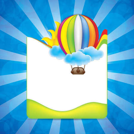 Spring frame with hot air balloon and rainbow Vector