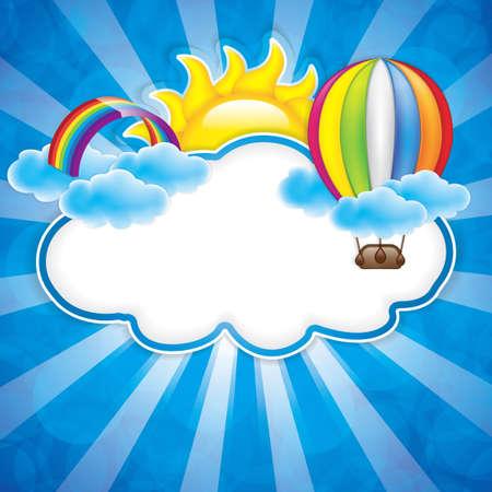nubes caricatura: Primavera marco con globo de aire caliente y el arco iris