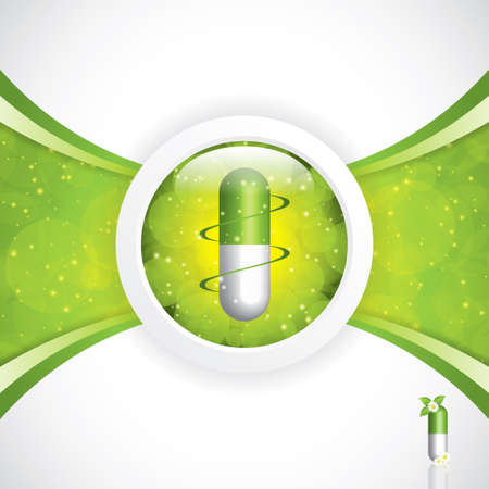 Alternative medication concept - herbal pill vector Vector
