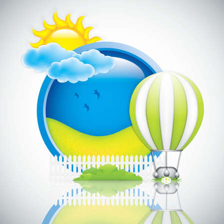 bush mesh: Spring frame with hot air balloon and sun Illustration