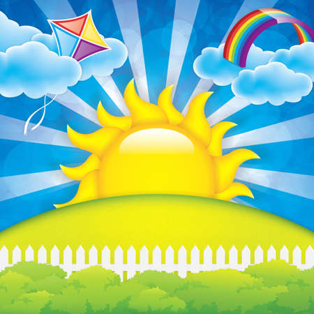 cartoon rainbow: Primavera de fondo con la cometa y el arco iris