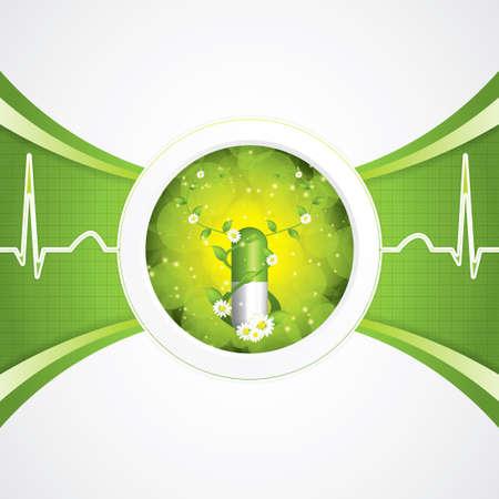 green medical sign: Alternative medication concept - herbal pill Illustration