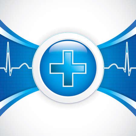 pulsation: Blue diagnostics button medical