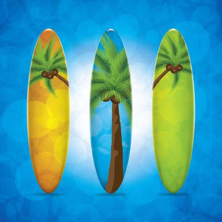 Three surfboard Illustration