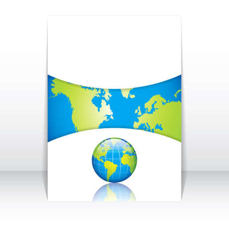 Clean futuristic design template with earth globe.Brochure Stock Vector - 20949807