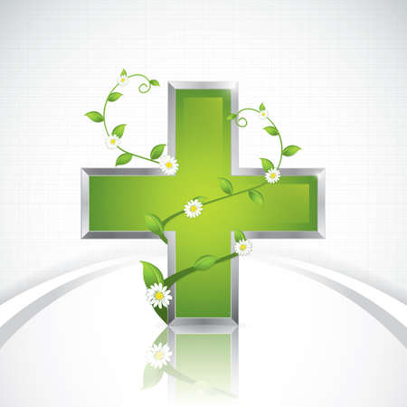 Alternative medication concept - medical cross caduceus style Stock Vector - 20949810