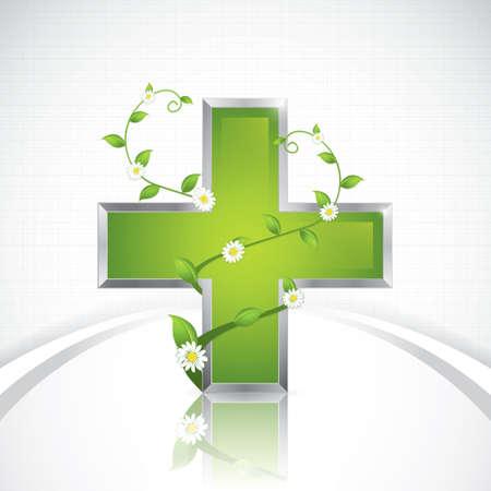 Concept de m?dicaments Alternative - m?dicale croix caduc?e de style Banque d'images - 20949810
