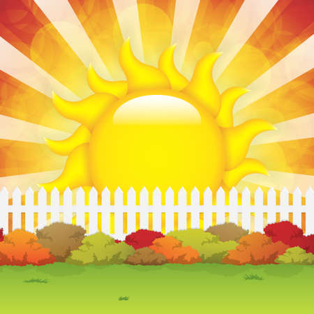 bush mesh: Autumn garden with bushes and fence Illustration