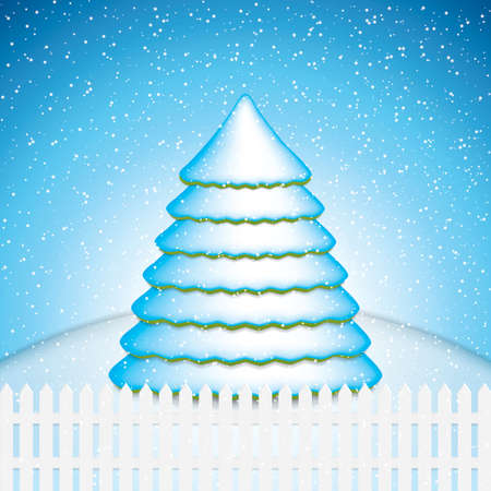 Christmas card with winter evening in blue tone Snowy tree vector Vector