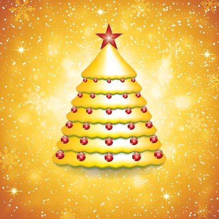 christmas snow globe: Christmas decoration background with tree Illustration