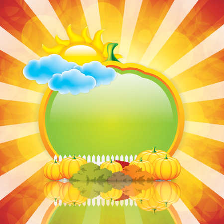 Autumn frame with pumpkins.Vector Vector