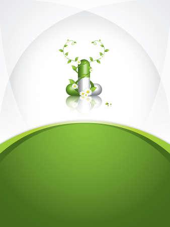 Green alternative medication concept - Herbal pill vector Vector