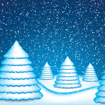 Christmas card with winter evening in blue tone.Vector Vector