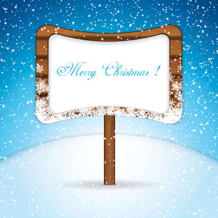 signboard: Wooden signboard in snow.Holiday vector Illustration